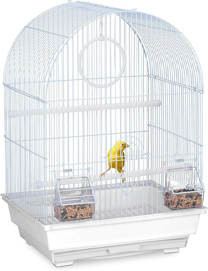 Relaxdays Jaula para pájaros, Canarios y Pinzas de Cebra, Perchas, Columpio, comederos, 49,5 x 34,5 x 31 cm, Color Blanco
