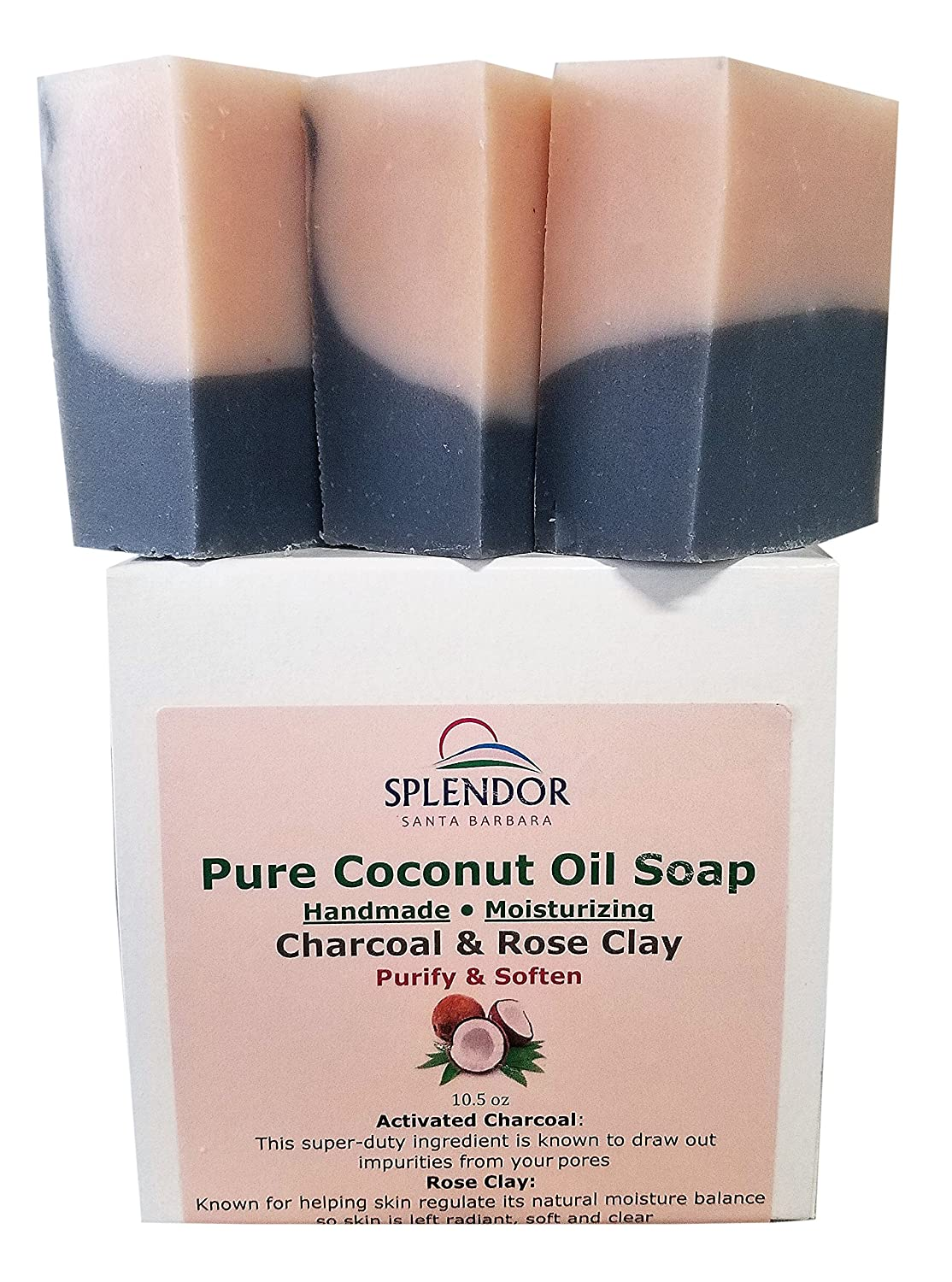 Splendor Activated Charcoal & Rose Clay Spa Face & Body Bar Soap - Pure Coconut Oil Soap. Handmade, Vegan, Natural, Moisturizing,