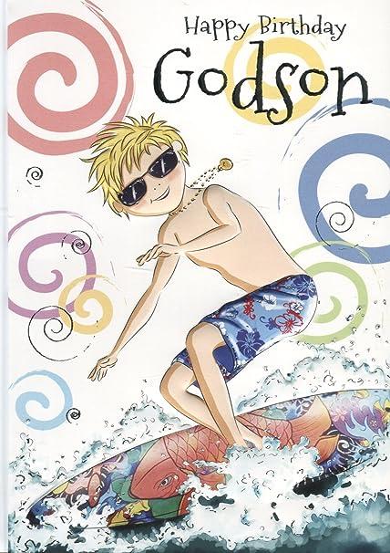 Joyeux Anniversaire Godson Surfer Sur Internet Carte D Anniversaire Amazon Fr Fournitures De Bureau