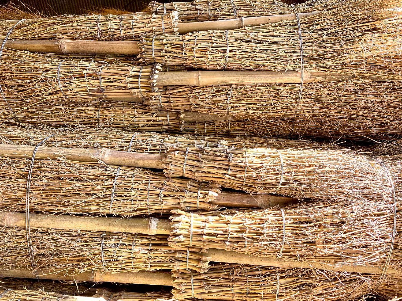 Hexenbesen 5 St/ück* Reisigbesen aus Bambus mit Stiel Stallbesen Bambusbesen