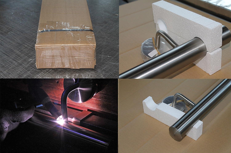 Edelstahl Handlauf V2A 42,4mm 240K geschliffen Wandhandlauf mit leicht gew/ölbter Endkappe UNGETEILT 2500 mm