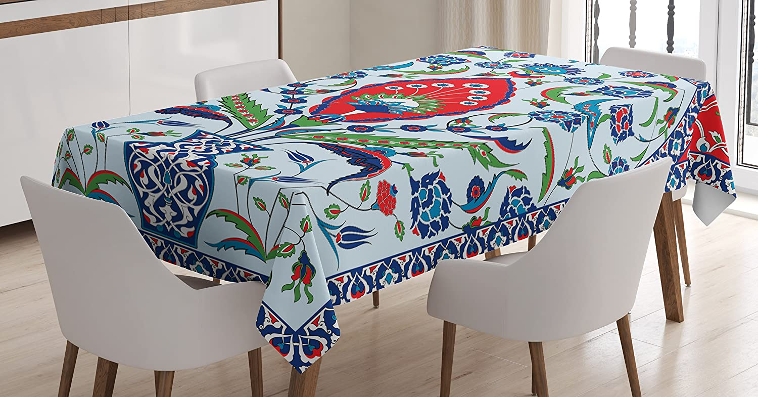 Amazon Com Ambesonne Turkish Pattern Tablecloth Floral Nature Art Motifs From Istanbul Abstract Plant In A Vase Dining Room Kitchen Rectangular Table Cover 60 X 84 Blue Green Scarlet Home Kitchen