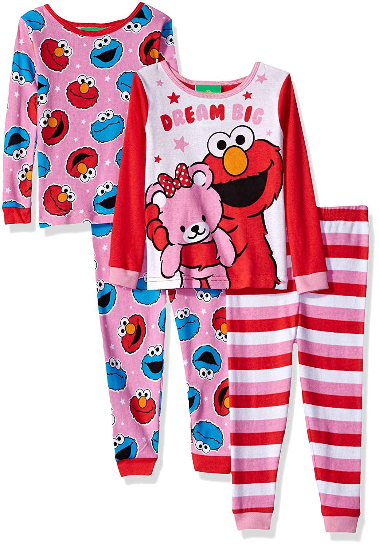 Sesame Street Girls' Toddler Cotton 4-Piece Pajama Set Sweet Dreams 4T 21SS223TLLDZ