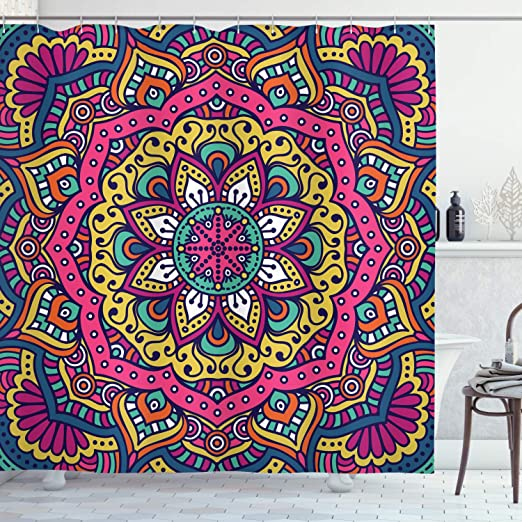 Psychedelic Shower Curtain Mandala Paisley Print for Bathroom