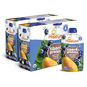 Happy Family Tot Organic Stage 4 Fiber Protein Pears Blueberries 4 Pack of 8, Pear Blueberry Spinach, 32 Ounce