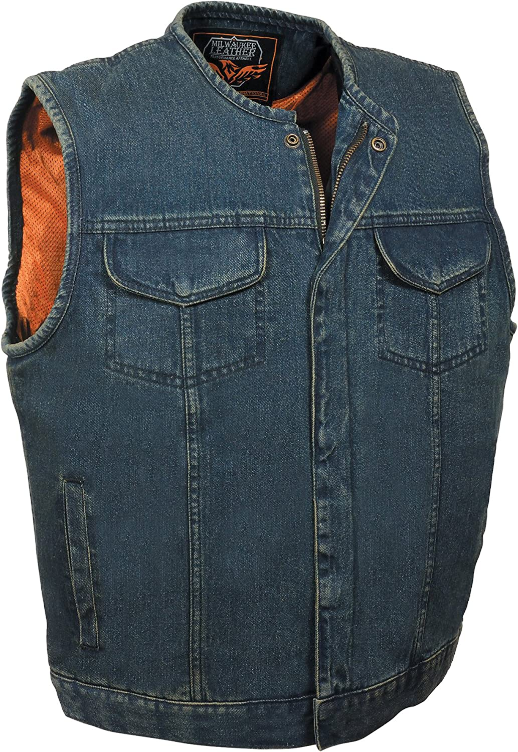Milwaukee Mens Denim Club Vest with Hidden Snap and Zip Black, X-Large