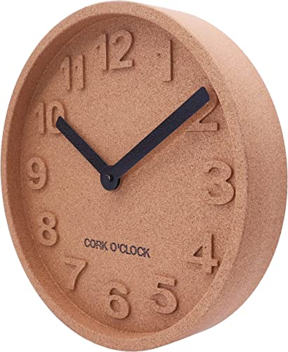 Unique Cork Wood Wall Clock 12.2″ Scandinavian Design Boho Style