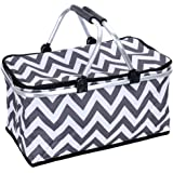 Sprucebay Insulated Picnic Basket – Strong Aluminum Frame – Collapsible Design for Easy Storage – Take it Camping, Picnicking, Lake Trips, or Family Vacations – Keeps Food Cold