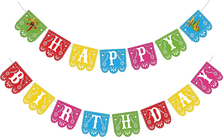 Joy Bang Fiesta Happy Birthday Banner Birthday Party Banner Mexican Theme Birthday Party Banner Decorations Feliz Cumpleanos Banner for Kids Birthday Party Decor