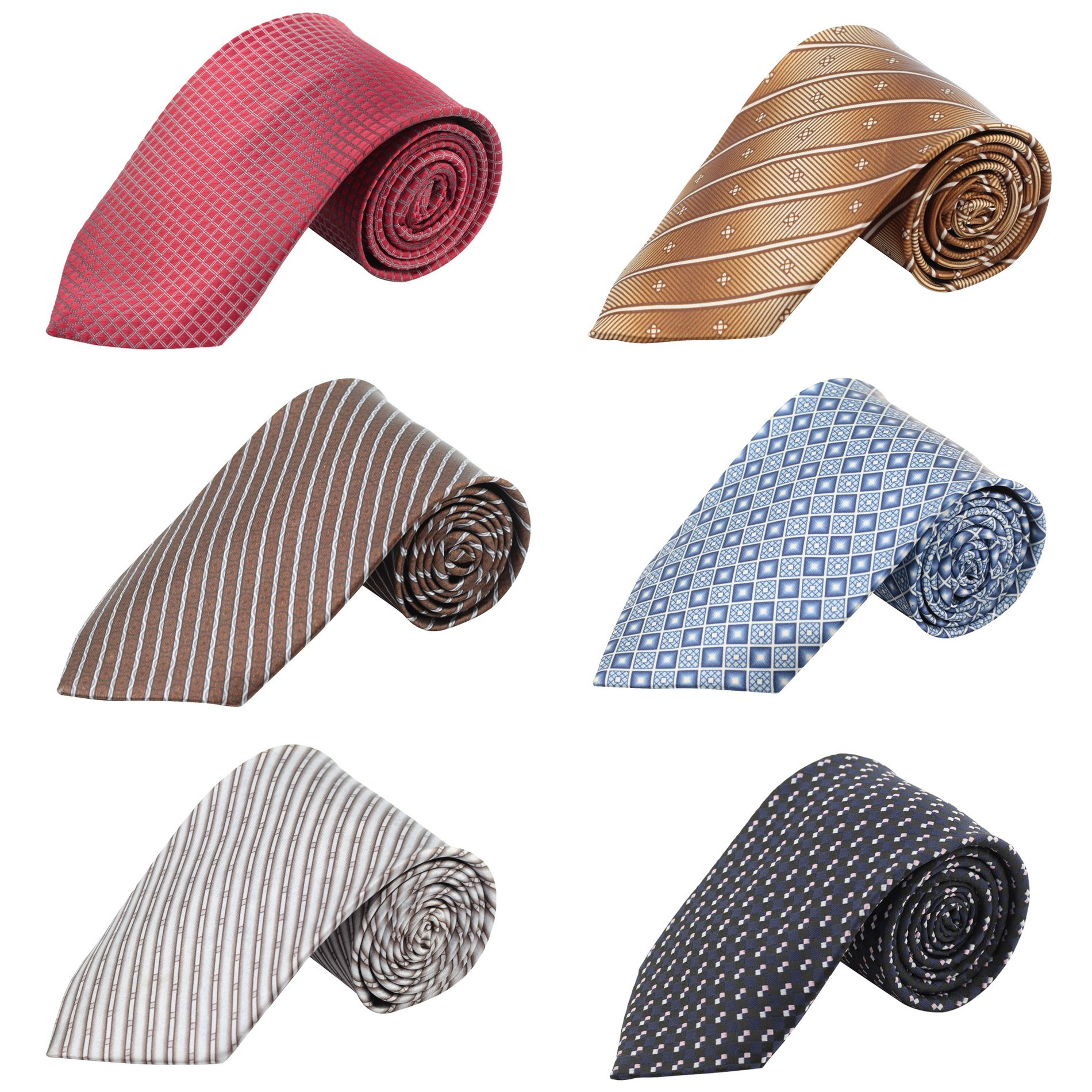 Mens Fashion Business Solid, Woven, Stripes Tie 6 Set Mixed (Set 3-8)