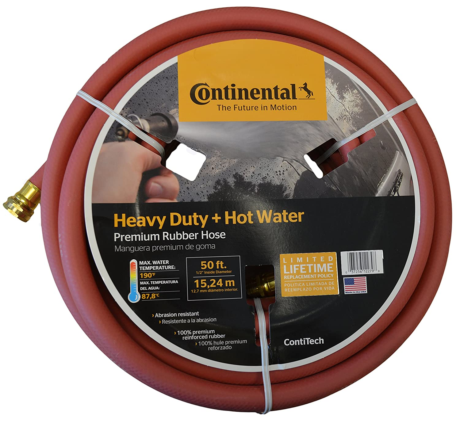 "Continental Premium Hot Water Heavy Duty Black EPDM Garden Hose, 5/8"" ID x 50'"
