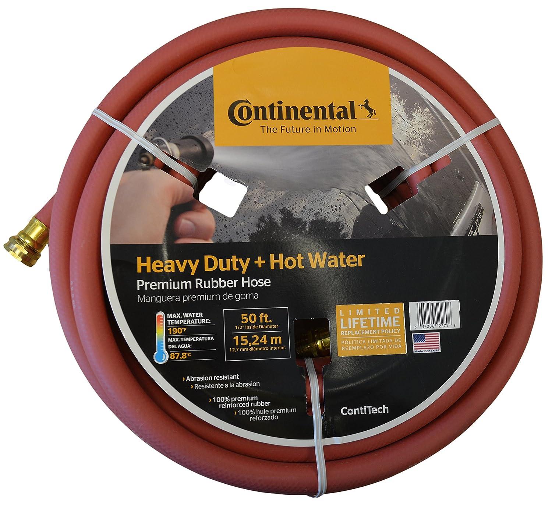 "Continental Premium Hot Water Heavy Duty Black EPDM Garden Hose, 5/8"" ID x 50'"