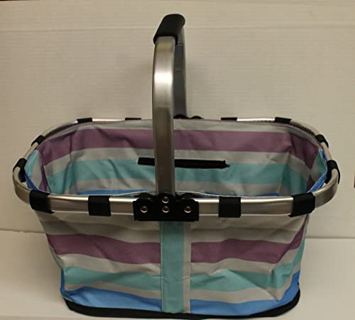 Striped Fold-able Picnic Tote with Handles