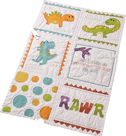 Baby Quilt Blocks.Bucilla 47723 Dino Baby Quilt Blocks