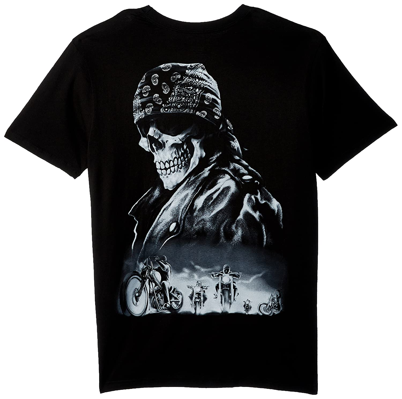 Mens Biker from Hell T-Shirt Black, Large Lethal Threat LT20156L