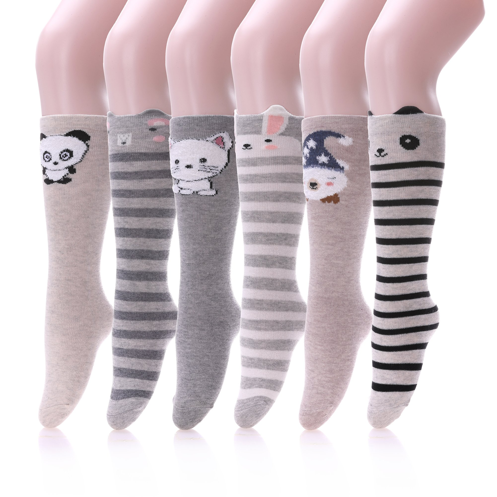 Unisex Baby Socks Girl Knee High Socks Cartoon Animal Cotton Socks 1-6 Years (6 Pairs cartoon)