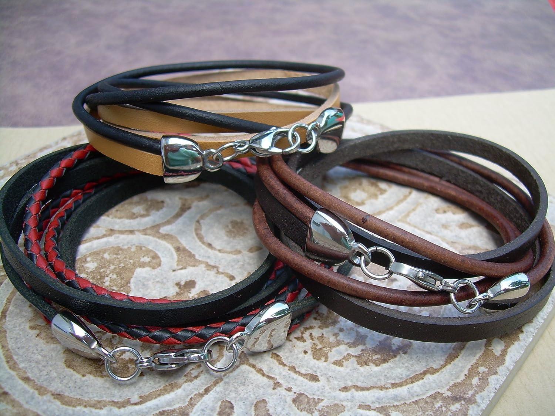 Triple Wrap 100/% Leather Wrap Bracelet