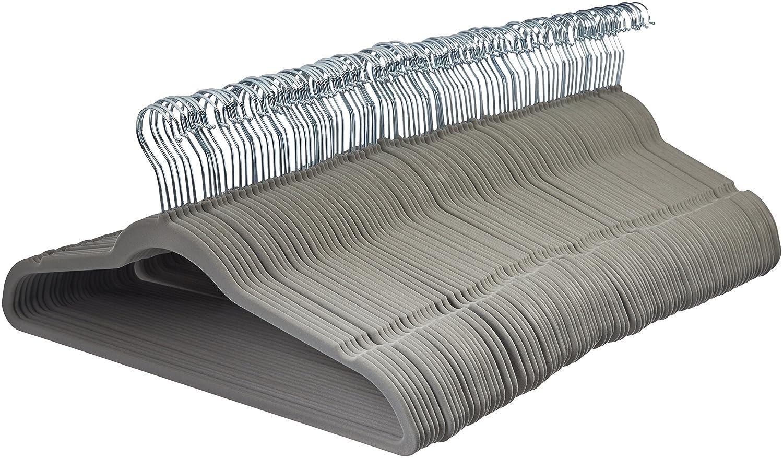 AmazonBasics Velvet Suit Hangers - 100-Pack, Grey