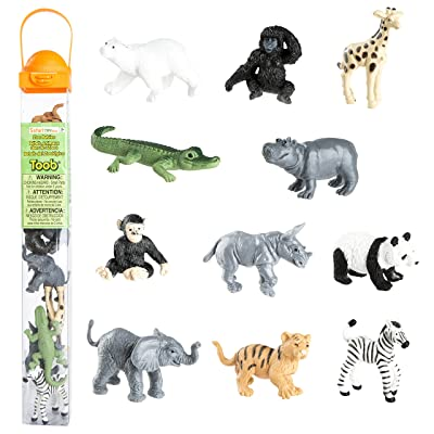 Safari Ltd Zoo Babies Toy Figurine TOOB With 11 Adorable Baby Animals Including Baby Zebra, Panda, Hippo, Chimpanzee, Rhino, Alligator, Gorilla, Elephant, Tiger, Polar Bear, And Giraffe – Ages 3 And Up: Toys & Games