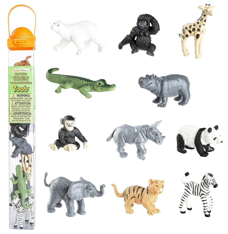 bf34dba300af4 Safari Ltd Zoo Babies Toy Figurine TOOB With 11 Adorable Baby Animals  Including Baby Zebra, Panda, Hippo, Chimpanzee, Rhino, Alligator, Gorilla,  ...
