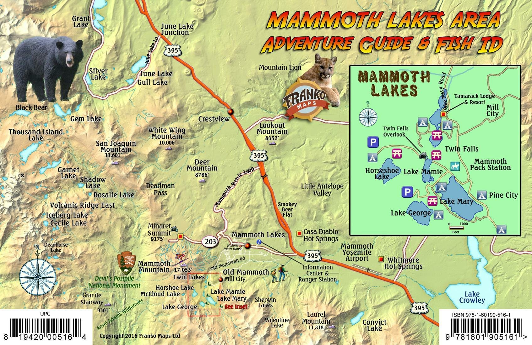 Mammoth Lakes California Map & Fish Guide Franko Maps Laminated Fish ...