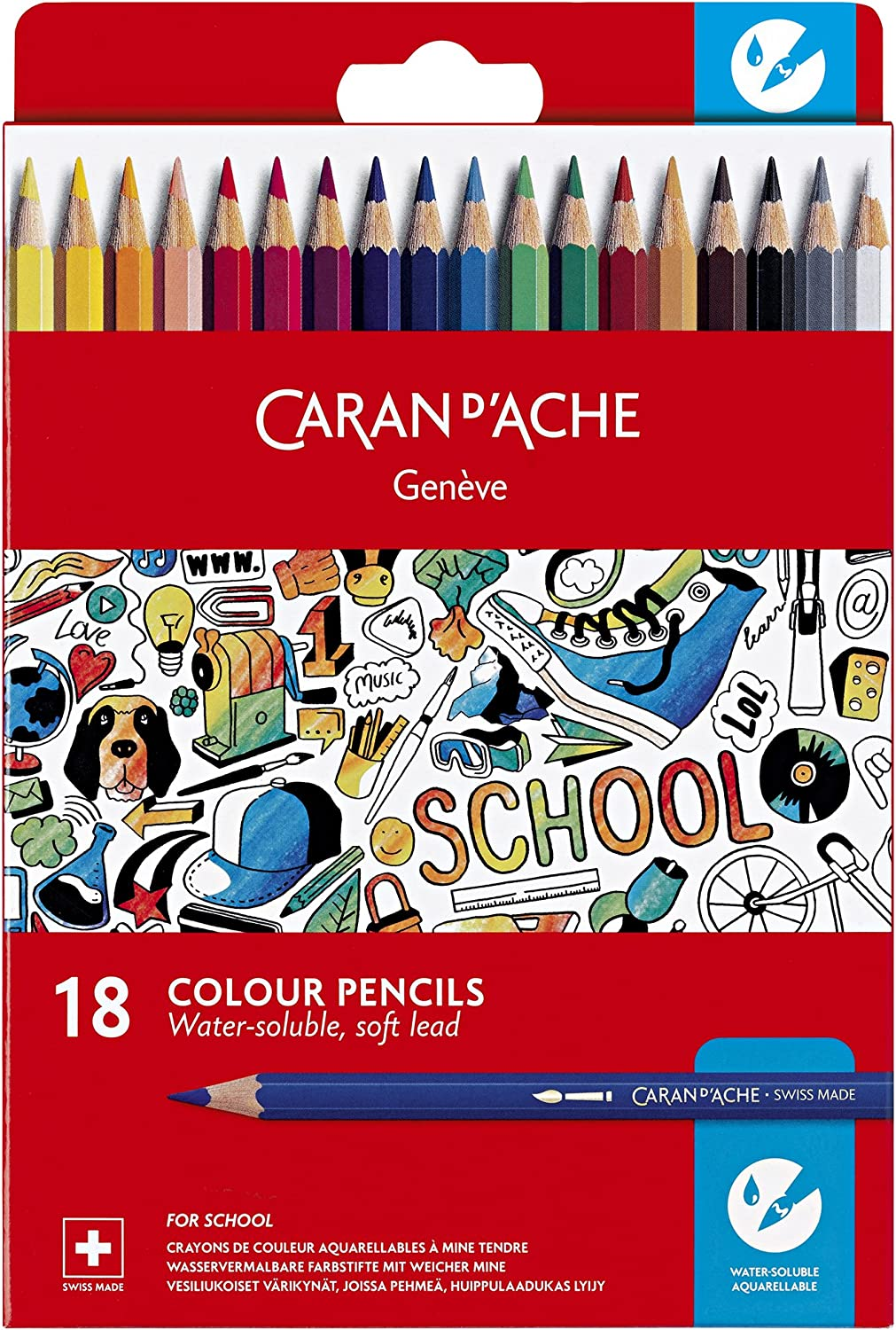 Caran excellence d'Ache School Line Water-soluble Pencils Colors Free shipping anywhere in the nation Color 18
