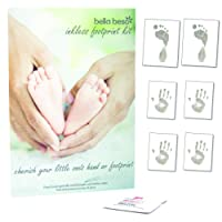 Six Sheet Baby Hand and Foot Print Inkless Wipe Kit – Ready to Frame Sizes Baby Footprint kit from Bella Beso
