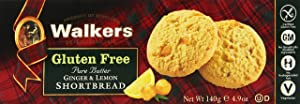 Walkers Shortbread Gluten-Free Ginger and Lemon Shortbread, 4.9 Ounce