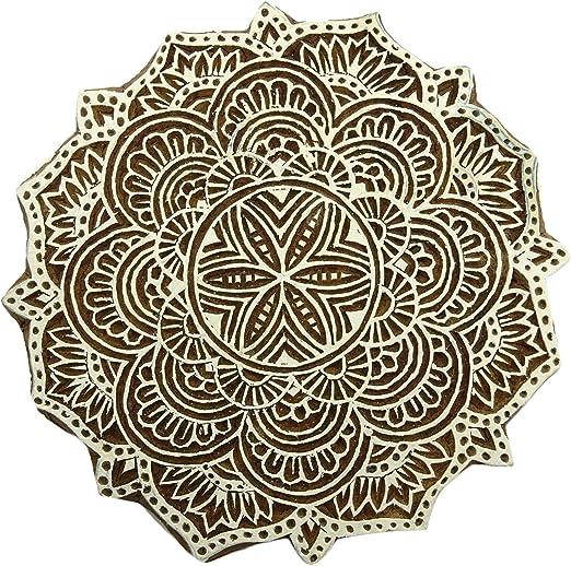 Keramik indischer Druck Textilstempel handgeschnitzt f/ür Saree Textil Borten handgefertigte Druckbl/öcke Holzstempel mit Alphabet-Text Handwerk Indien