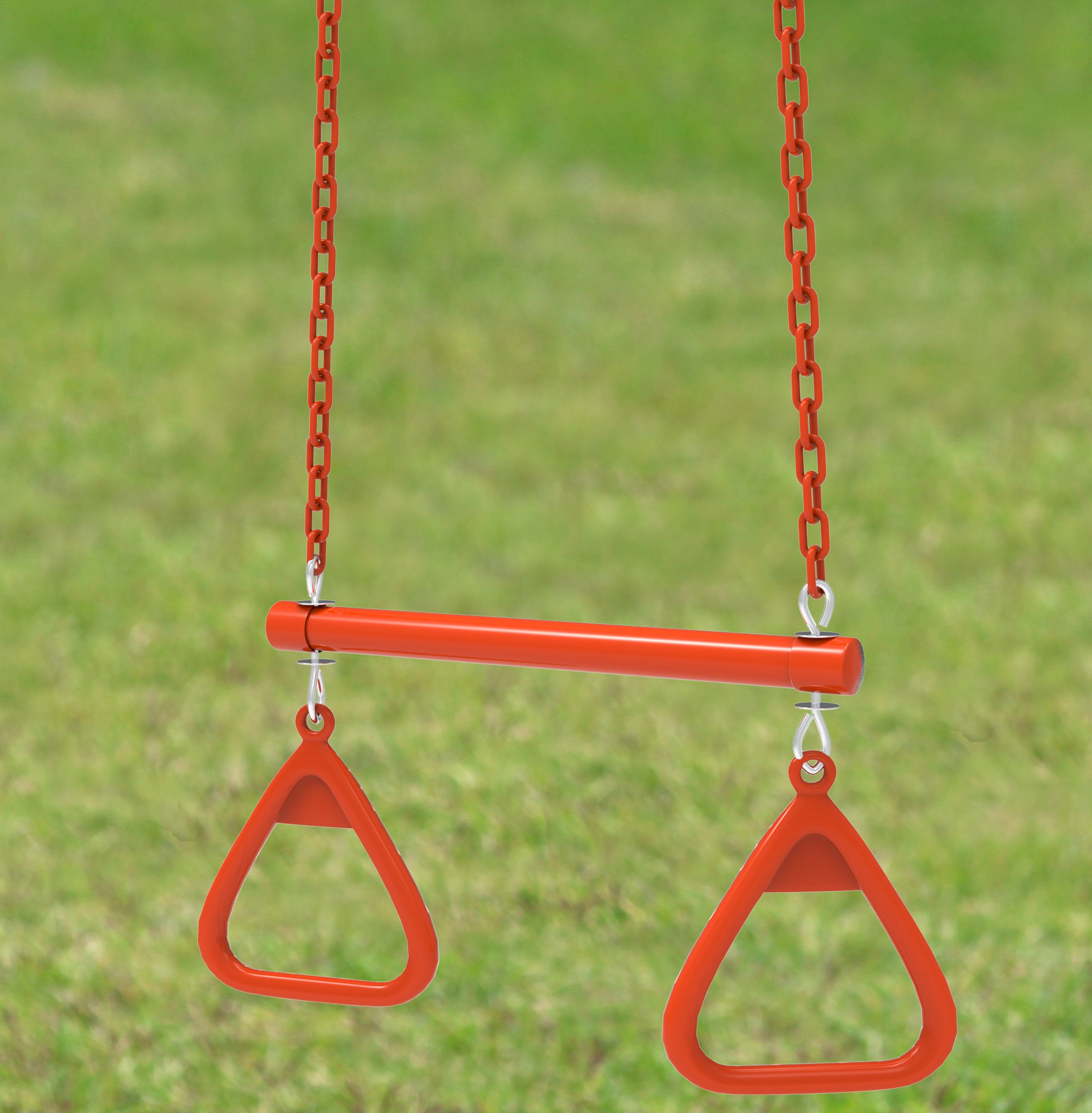 Kids Trapeze Bar with Rings for Swing Set Playground Accessories Set - 18'' Bar and 25'' Steel Chain