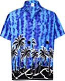 La Leela Men's Relaxed Fit Aloha Hawaiian Casual Loose Button Down Hawaiian Shirt Blue