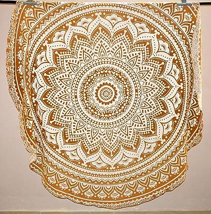 Amazon.com: Mandala Round Roundie Beach Throw Gold Ombre ...