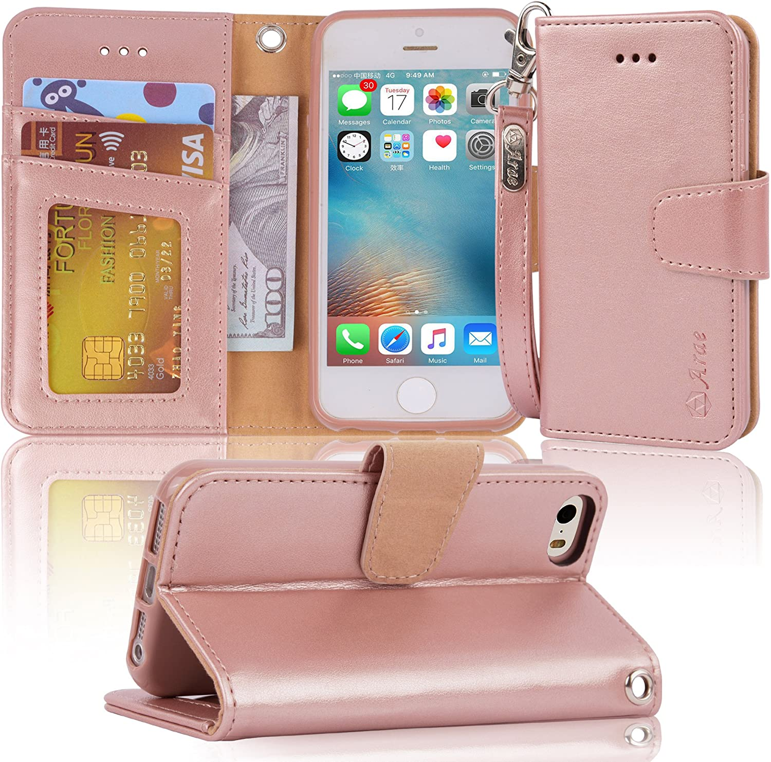 Arae Case for iPhone 5 / iPhone 5s, Premium PU Leather Wallet case [Wrist Strap] Flip Folio [Kickstand Feature] with ID&Credit Card Pockets - Rosegold