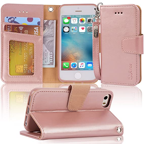 new style b36c6 a0552 Arae Case for iPhone SE/iPhone 5s, Premium PU Leather Wallet case [Wrist  Strap] Flip Folio [Kickstand Feature] with ID&Credit Card Pockets for  iPhone ...