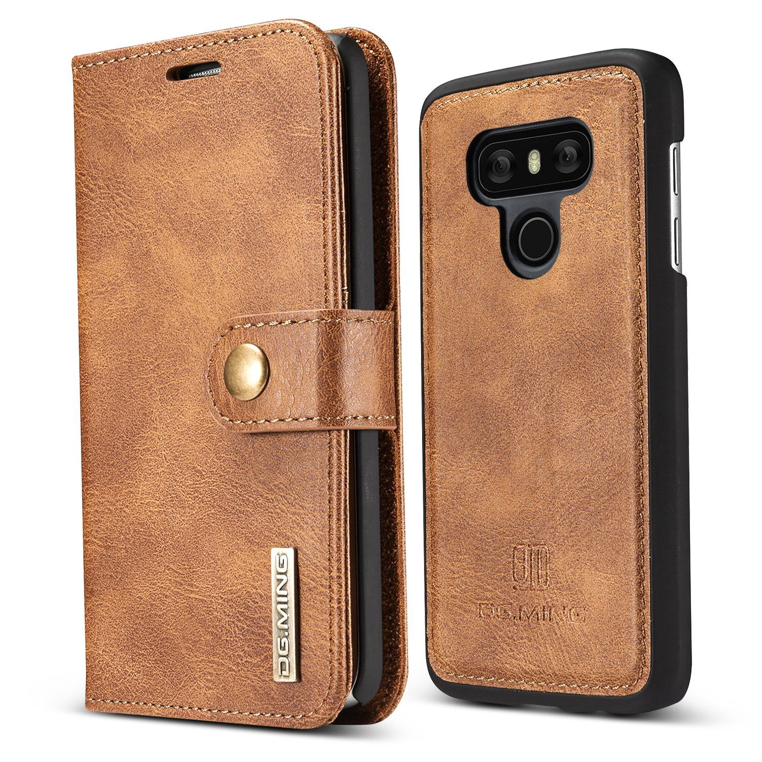 LG G6 Case,JGOO LG G6 2 In 1 Detachable Premium Flip Removable Synthetic Leather Wallet Case w/ Magnetic Snap,Minimalist PC Protective Cover 3 Card Slot for LG G6,Black