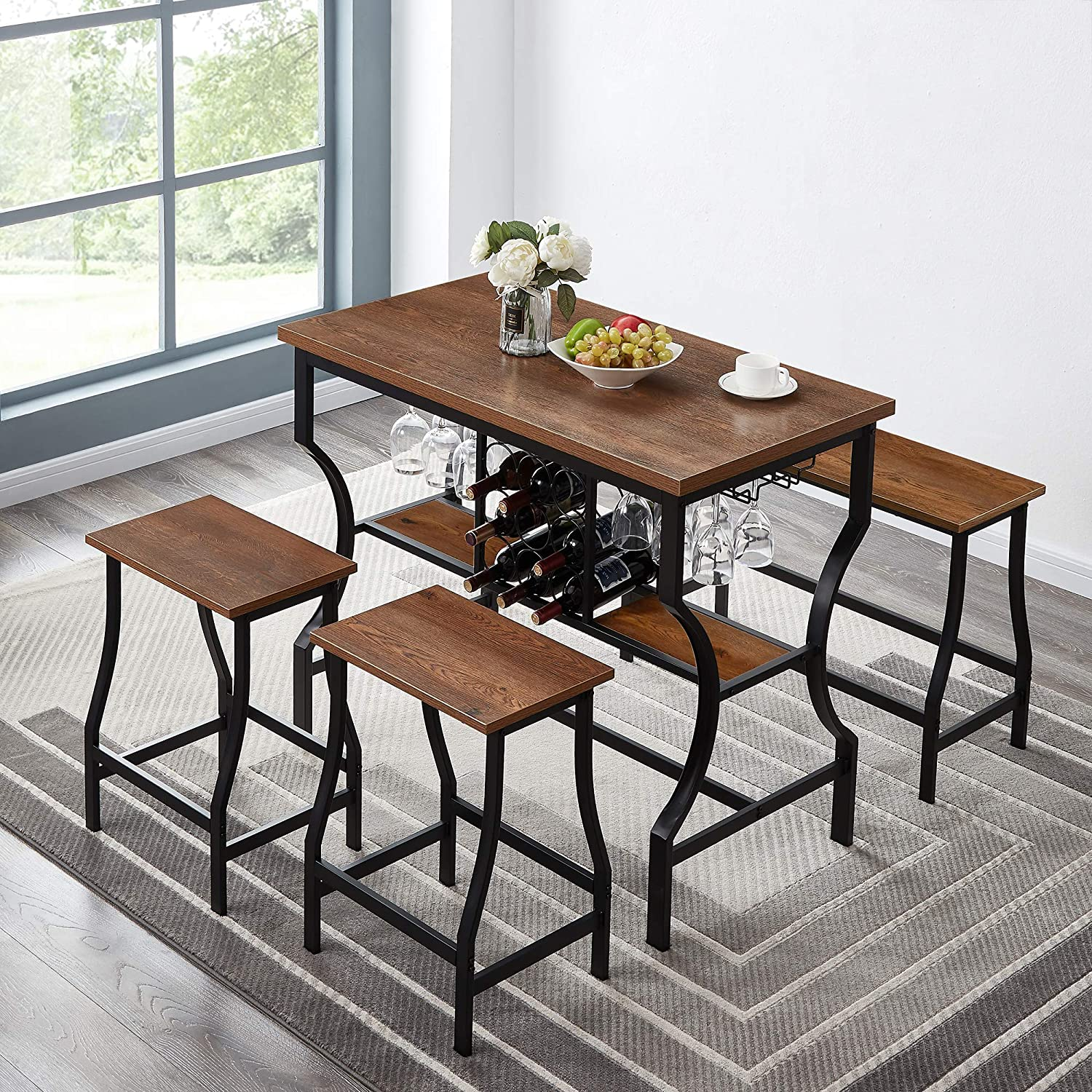 Amazon Com Hombazaar 4 Piece Dining Room Table Set Counter Height Pub Table Set With Wine Storage And Glass Holder Industrial Style Kitchen Table With 1 Bench And 2 Stools Table Chair Sets
