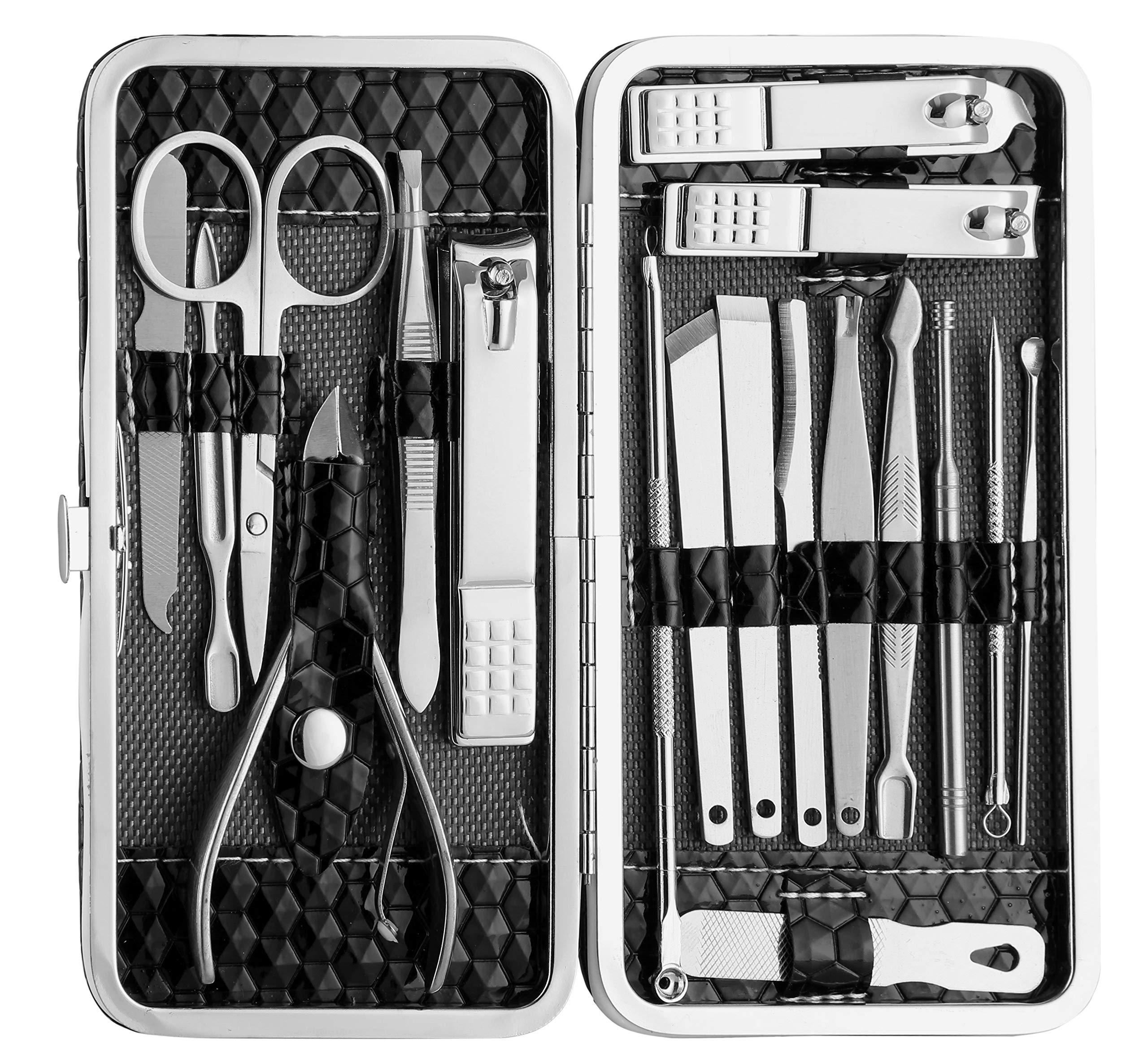 Foolzy Stainless Steel 18-in-1 Nail Utility Grooming Travel Set with Leather Case product image