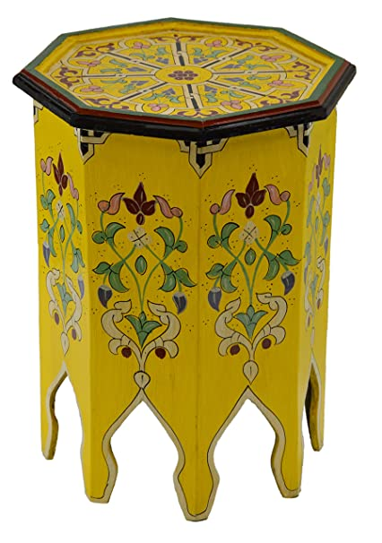 Beau Moroccan Handmade Wood Table Side Delicate Hand Painted Yellow Exquisite