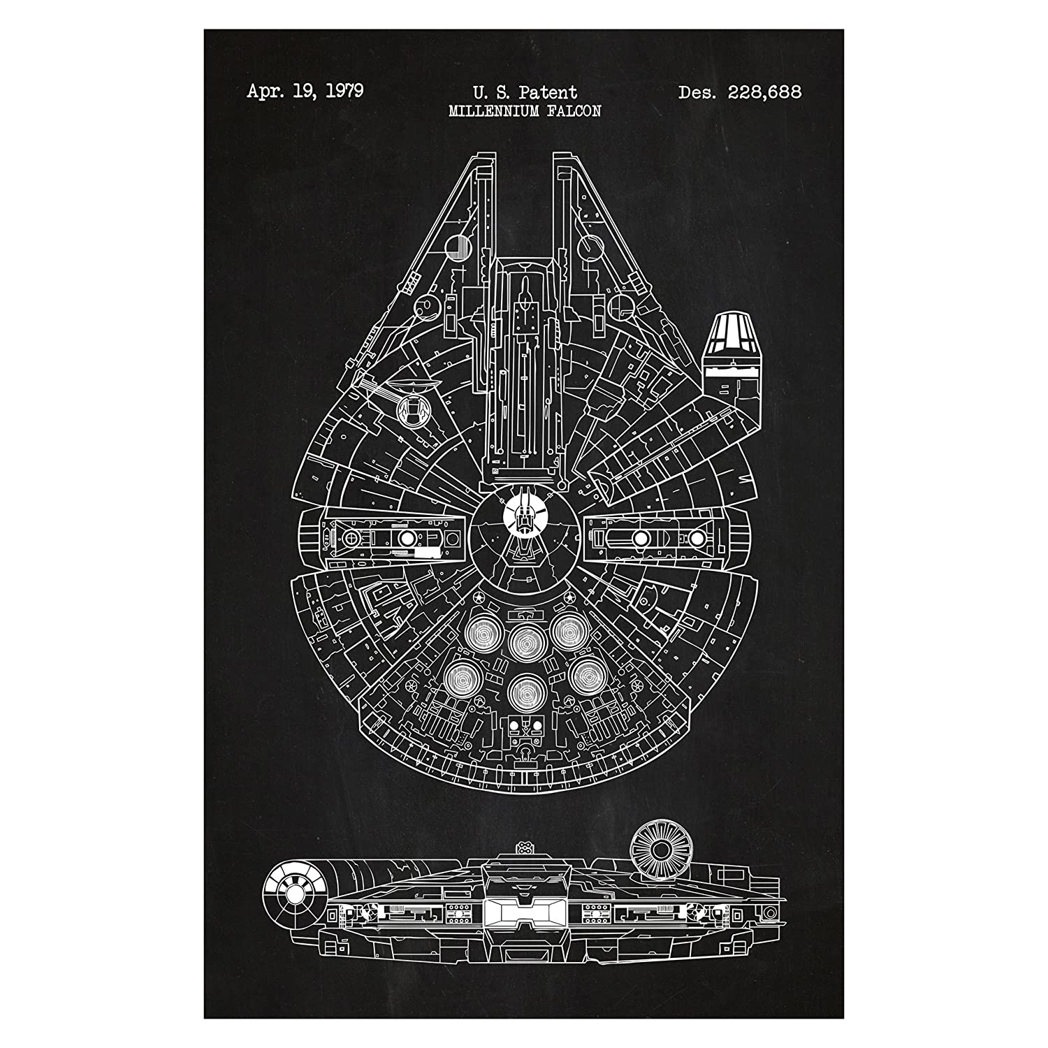 Inked and Screened Star Wars Assorted Design Patent Art Poster 11 x 17 inch Silk Screen Prints Millennium Falcon - Chalkboard