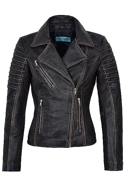 Ladies New 9334 Black Rub Off Wax Diseñador de moda con estilo Biker Chaqueta de cuero