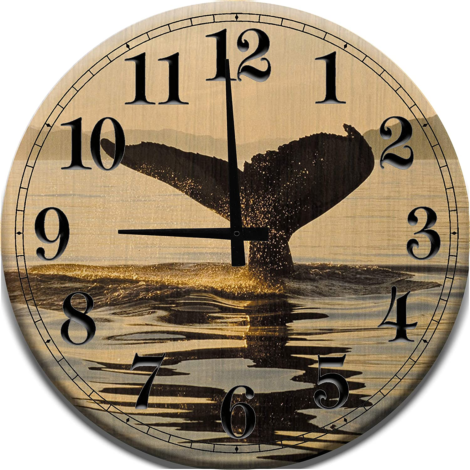 Amazon Com Large Wood Wall Clock Whale Watching Tail Going Into The Ocean Wood Wall Art Home Decor Home Kitchen