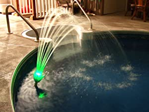 Magic Pool Fountain Water Powered! No Batteries, Solar or Power Cords Needed. Installs in Seconds with no Tools Required. Bright LED Lights That continuously Change Colors. Bulbs Last for 2000 Hours.