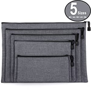 ADVcer 5 Pack Canvas Zipper Tool Bag Set - 5 Sizes B4 A4 B5 A5 B6, Heavy Duty Waterproof Multipurpose Utility Multi Tool Storage Pouch Case for Organizing & Sorting Household Tools, Spare Parts (Gray)