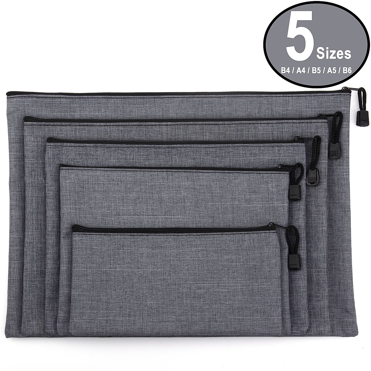 ADVcer 5 Pack Canvas Zipper Tool Bag Set 5 Sizes B4 A4 B5 A5 B6 Heavy Duty Waterproof Multipurpose Utility Multi Tool Storage Pouch Case for Organizing Sorting Household Tools Spare Parts Gray