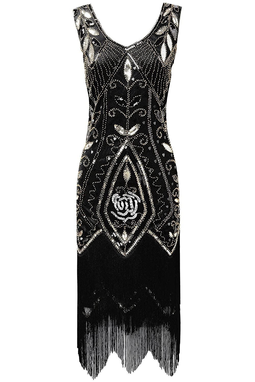 315c5a49547 Amazon.com  BABEYOND 1920s Art Deco Fringed Flapper Dress Roaring 20s  Sequin Dress Vintage Beaded Gatsby Costume Dress  Clothing