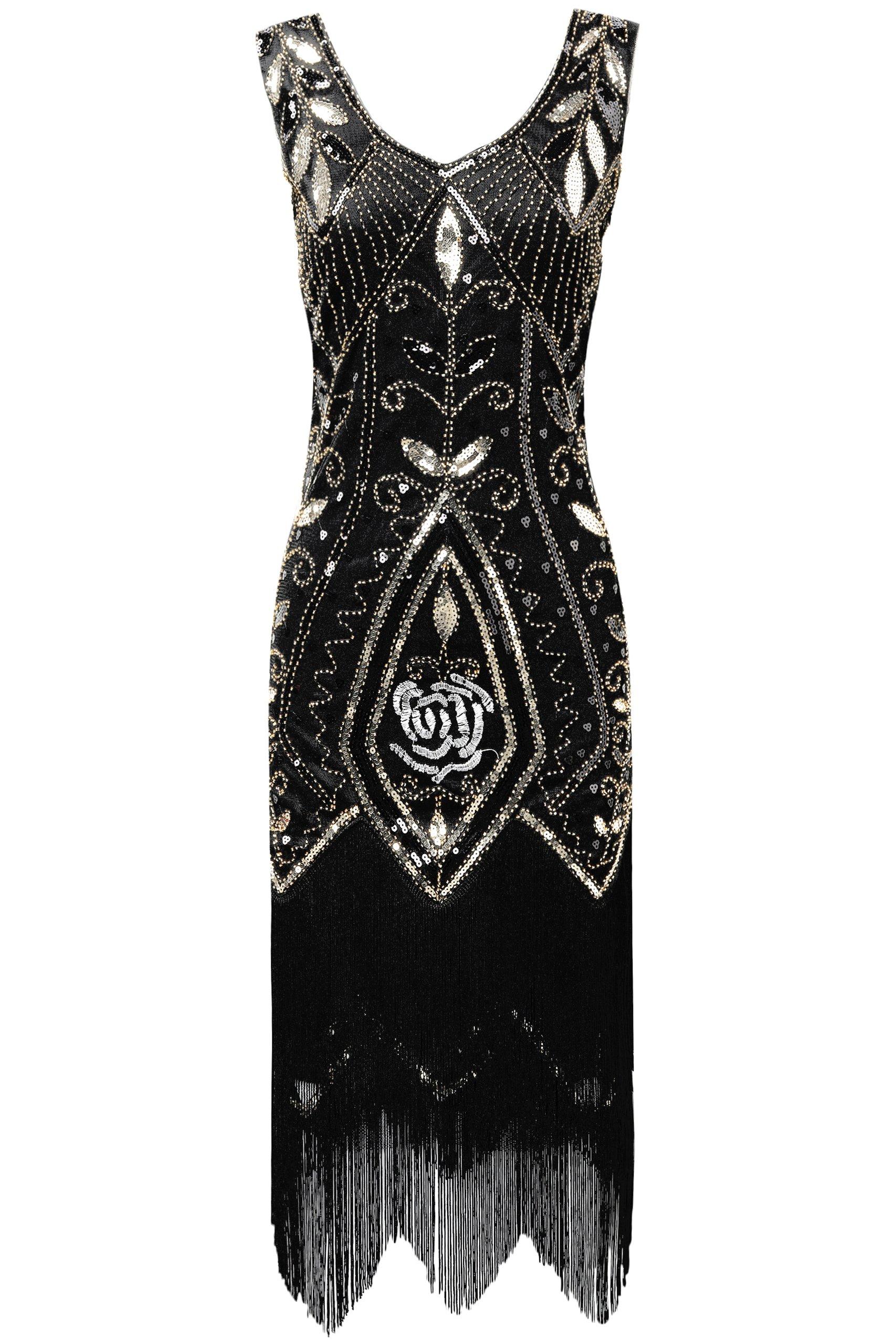 599b594251 BABEYOND 1920s Flapper Fancy Dress Art Deco Fringed Sequin Dress Roaring  20s Gatsby Costume Dress Vintage Beaded Evening Dress (Black Gold