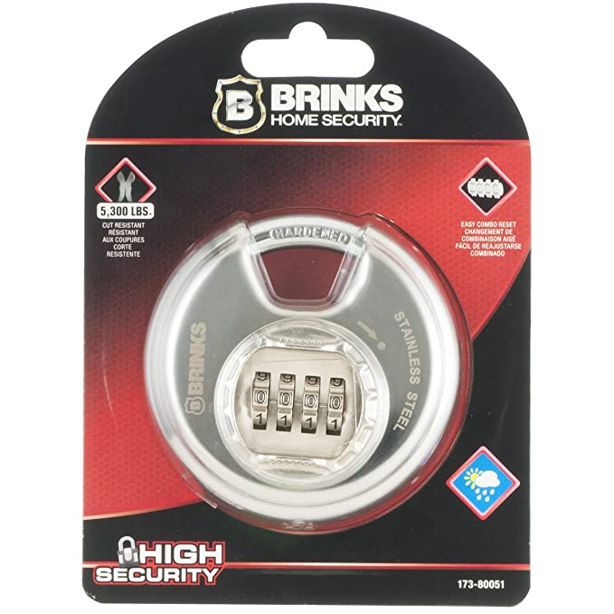 Amazon.com: BRINKS 173-80051 80mm Stainless Steel Resettable Combination Discus Padlock: Automotive