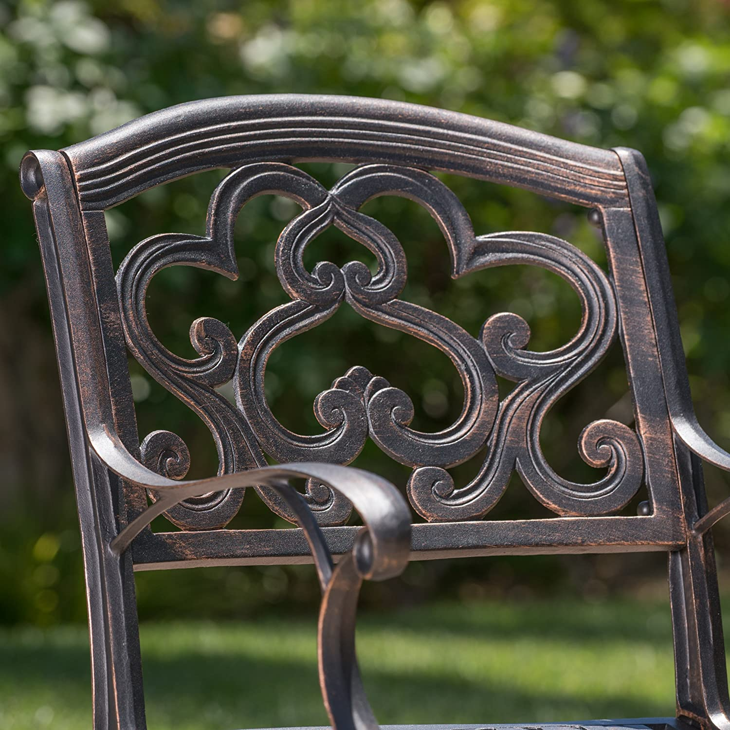 GDF Studio 300663 Augusta Outdoor Cast Aluminum Dining Chairs Set of 2 , Copper