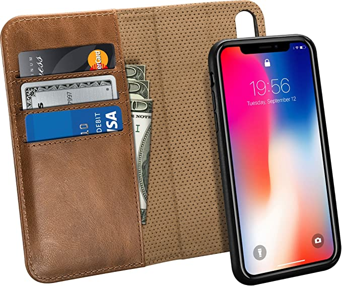 1b07eb461d3e Raw Leather Co. Genuine Leather Brown Wallet Case with Protective Cover for Apple  iPhone X