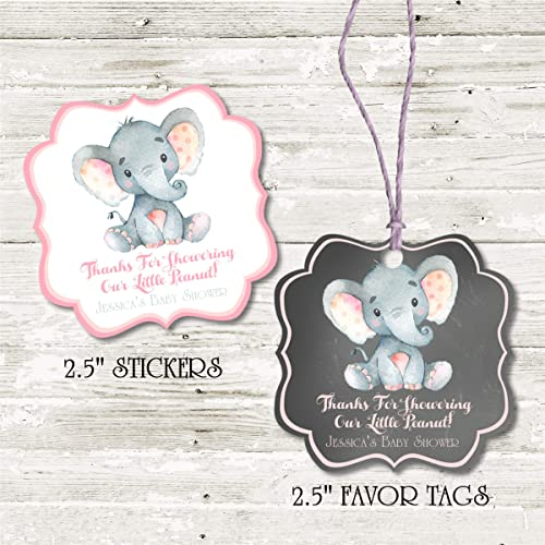 Amazon Com Girls Pink Elephant Baby Shower Favor Stickers Boys